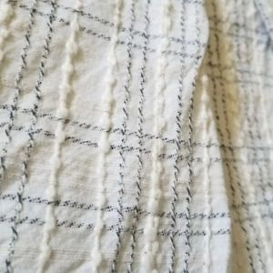 Twin bedskirt - gray & off white textured